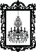 Vector of a chandelier inside a picture frame