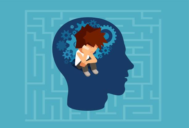 bir yetişkin adam kavramının çocuk bilinçaltının vektör - therapist stock illustrations