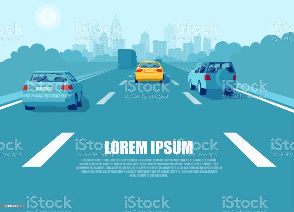 Vettore di un trasporto cittadino con auto e camion che guidano su un'autostrada - arte vettoriale royalty-free di Assonometria