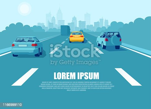Vector of a city transport with cars and trucks driving on a highway