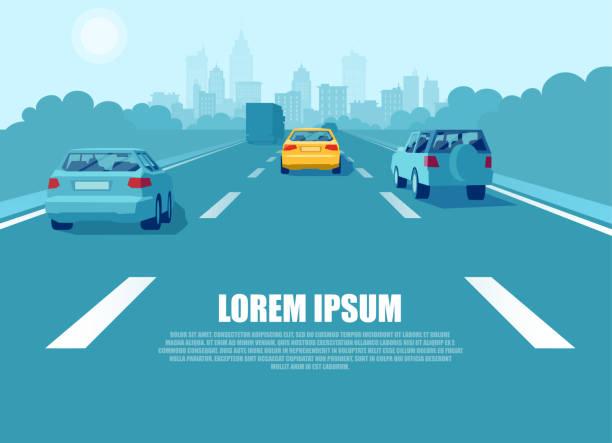 wektor komunikacji miejskiej z samochodami osobowymi i ciężarowymi jadącymi autostradą - ruch stock illustrations