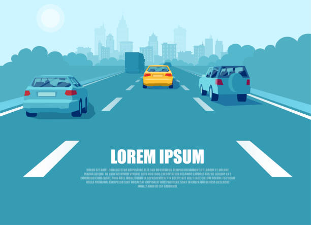 illustrazioni stock, clip art, cartoni animati e icone di tendenza di vector of a city transport with cars and trucks driving on a highway - car