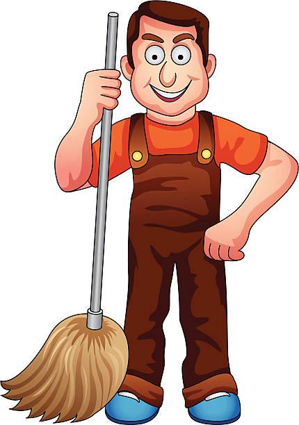 bildbanksillustrationer, clip art samt tecknat material och ikoner med vector of a cleaning man. - construction workwear floor