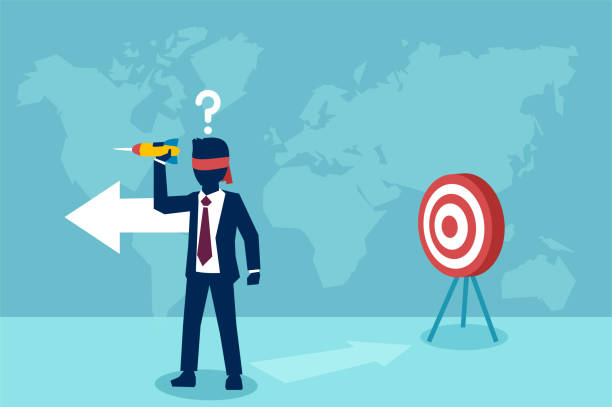 vector of a confused blindfold businessman trying to hit a target with dart - lost stock illustrations