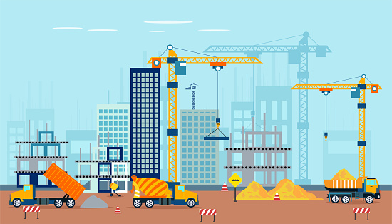 Vector of a construction site with machinery building a high rise apartment complex