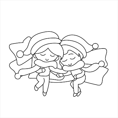 Vector of a couple, boy and girl, asleep on top of many pillows with a scarf for two and Christmas hats.