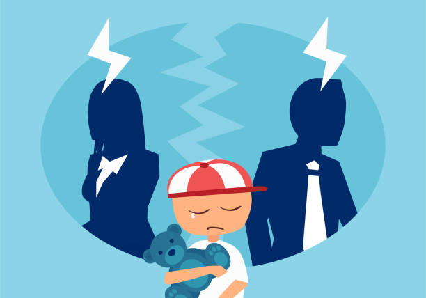 Vector of a couple man and woman having an argument with a stressed crying child in the middle. Divorce and family conflict concept. Vector of a couple man and woman having an argument with a stressed crying child in the middle. alimony stock illustrations