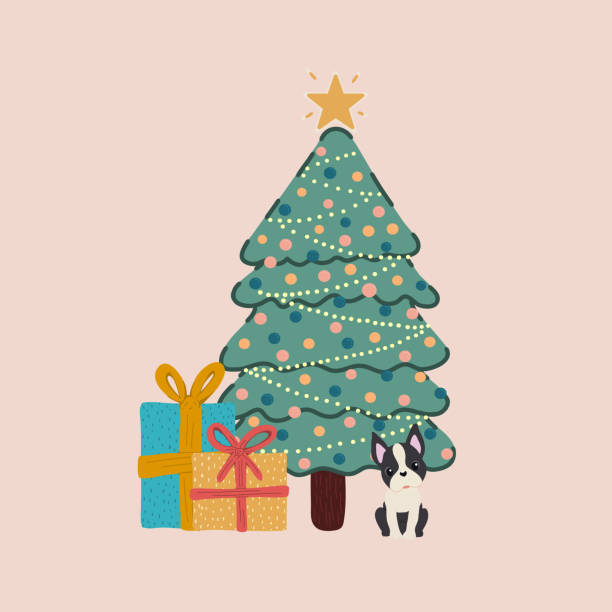 Vector of a decorated Christmas tree and with a Boston Terrier breed dog next to it with gifts. vector art illustration