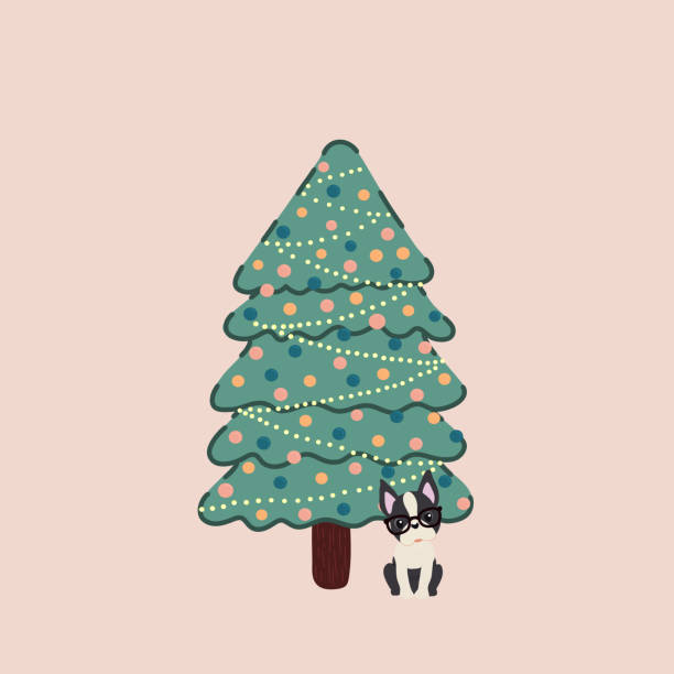 Vector of a decorated Christmas tree and with a Boston Terrier breed dog next to it. vector art illustration