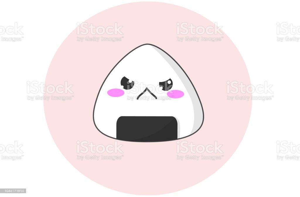 怒りの顔でおいしい可愛いおにぎりのベクトル おにぎりのベクター