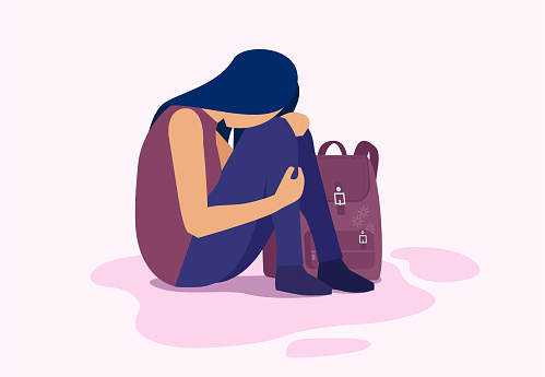 Vector of a depressed sad girl sitting on the floor, student with backpack.
