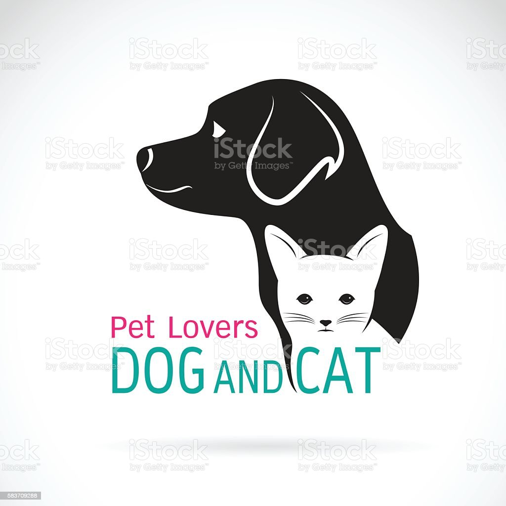 Vector of a dog and cat design. vector art illustration