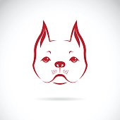 Vector of a dog face on a white background. Bulldog. Pet
