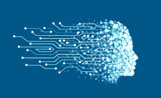 ilustraciones, imágenes clip art, dibujos animados e iconos de stock de vector de una cara hecha de partículas digitales como símbolo de inteligencia artificial y aprendizaje automático - inteligencia artificial