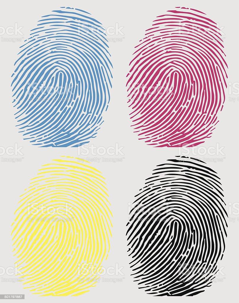 Vector of a fingerprint in CMYK colour vector art illustration