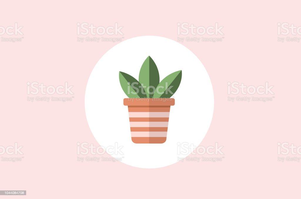 Vector of a flowerpot with three decorative stripes and a plant. - illustrazione arte vettoriale