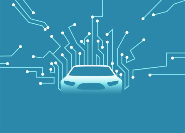 ilustraciones, imágenes clip art, dibujos animados e iconos de stock de vector de un futuro coche autónomo. - vehículos sin conductor