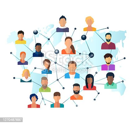 istock Vector of a global network of interconnected people 1270487697