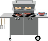 A Barbeque grill with grilling utensils, hotdogs and a bun rack for the buns. No gradients used.