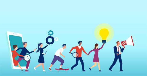 vektor einer gruppe von kunden, die aus dem smartphone, social-media-plattform - feedback stock-grafiken, -clipart, -cartoons und -symbole