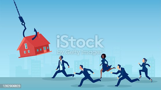 Vector of a group of people running after a house on a fishing hook