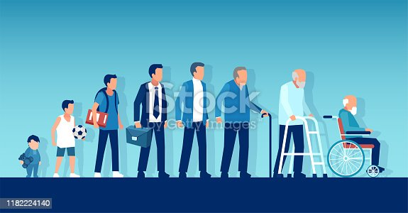 istock Vector of a growing up baby becoming adolescent, mature man and elderly disabled guy through age evolution stages 1182224140