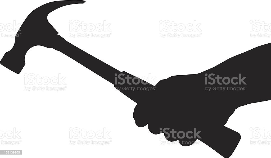 Vector of a hand holding hammer vector art illustration