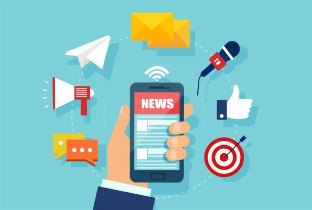 stockillustraties, clipart, cartoons en iconen met vector van een hand met smartphone met nieuwswebsite. - nieuwsevenement