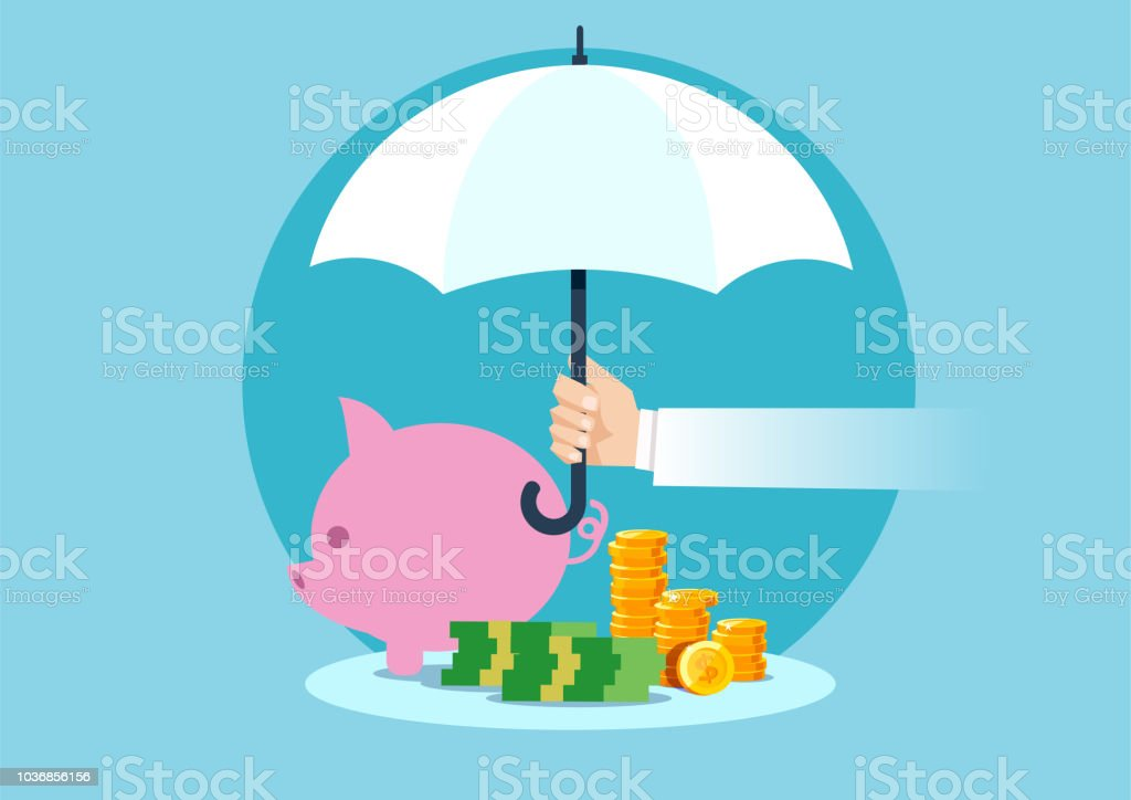 Vector of a hand holding umbrella to protect money vector art illustration