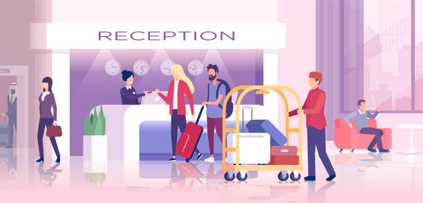 vector of a hotel reception with travelers checking in, porter man carrying bags and guest relaxing in the lobby - hotel reception stock illustrations