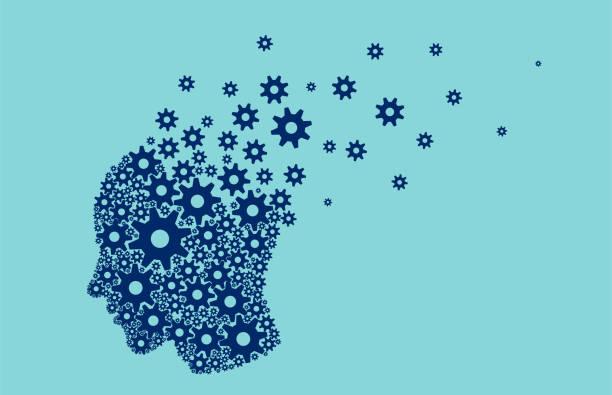 ilustrações de stock, clip art, desenhos animados e ícones de vector of a human head brain breaking into small pieces gear mechanisms - alzheimer