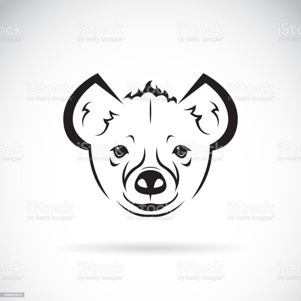 白い背景の上の hyena ヘッド デザインのベクトル野生動物簡単に編集可能
