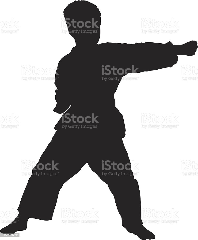 Vector of a karate child exercising vector art illustration
