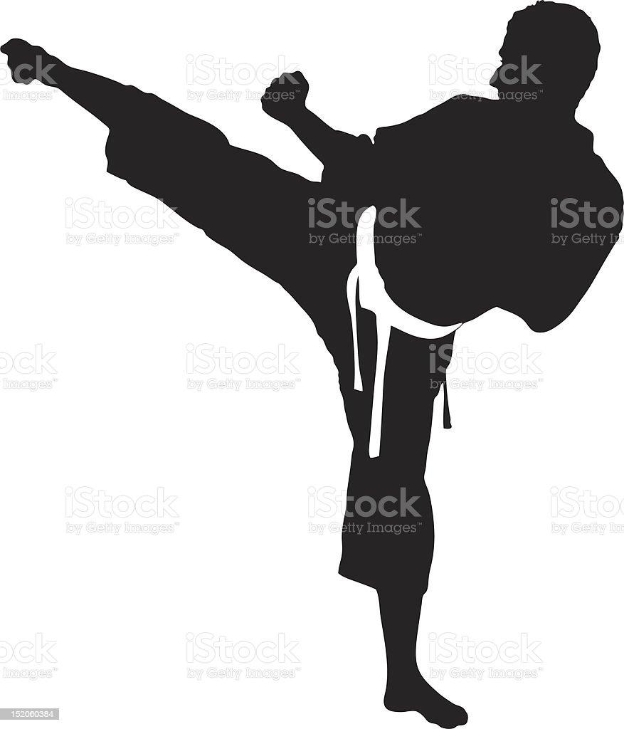 Vetor de um homem exercer karate - ilustração de arte em vetor