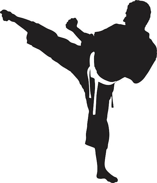 vector of a karate man exercising - martial arts stock illustrations