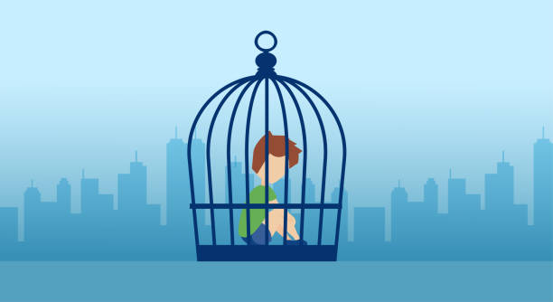 Vector of a lonely boy sitting inside the cage on a city background Vector of a lonely kid sitting inside the cage on a city background human trafficking stock illustrations