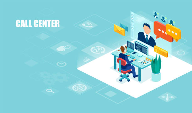 Vector of a male operator with headset working in the office assisting a client Call center and technical support concept. Vector of a male operator with headset working in the office assisting a client call centre illustrations stock illustrations