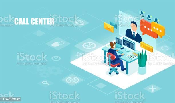 헤드셋을 사용 하 여 사무실에서 작업 하는 남성 연산자의 벡터 클라이언트 지원 3차원 형태에 대한 스톡 벡터 아트 및 기타 이미지