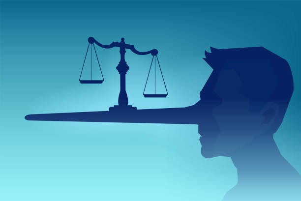 Vector of a man head silhouette and a law scale being balanced on a long nose of a judge Legal fraud concept. Vector of a man head silhouette and a law scale being balanced on a long nose of a judge dishonesty stock illustrations