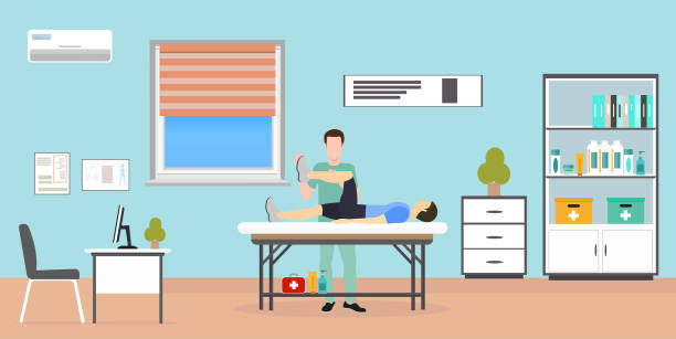 vector of a man patient laying on the table being examined by therapist doctor - physical therapy stock illustrations