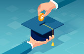 istock Vector of a man paying for his education 1264166530