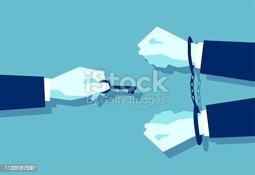 Vector of a man with a key and a businessman in handcuffs isolated on blue background