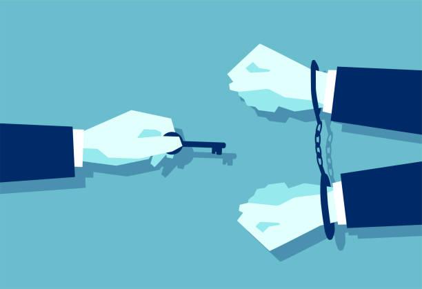 vektor eines mannes mit schlüssel und einem geschäftsmann in handschellen - geldstrafe stock-grafiken, -clipart, -cartoons und -symbole