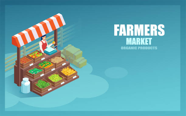 illustrazioni stock, clip art, cartoni animati e icone di tendenza di vector of a market farmer selling local vegetables and produce on her stall - mercato frutta donna