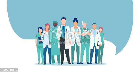 istock Vector of a medical staff, group of doctors and nurses 1290139310