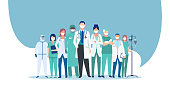 istock Vector of a medical staff group of doctors and nurses wearing face masks 1287854489