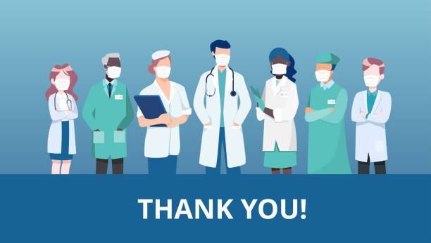 vector of a medical team of doctors and nurses with thank you message from community - thank you background stock illustrations
