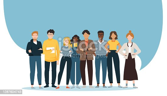 istock Vector of a multiethnic group of diverse people standing together 1287604743