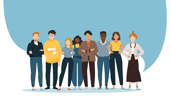 Vector of a multiethnic group of diverse people men and women standing together