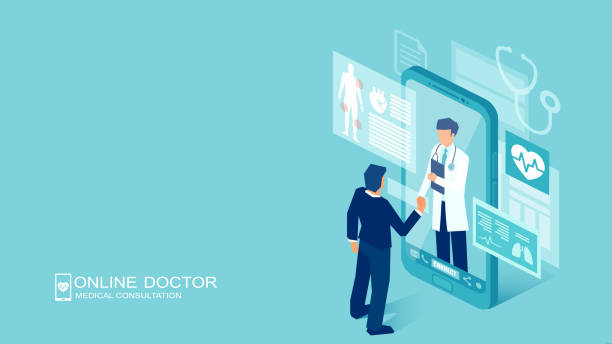 illustrazioni stock, clip art, cartoni animati e icone di tendenza di vector of a patient meeting a doctor online using a smartphone technology - paziente